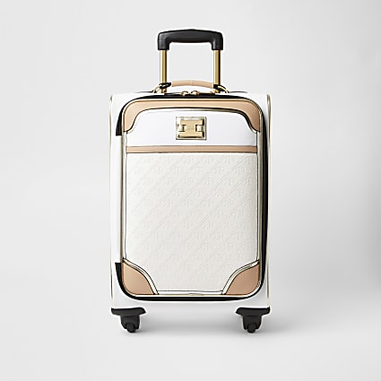 White monogram embossed suitcase