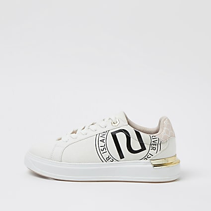 White monogram lace up trainers