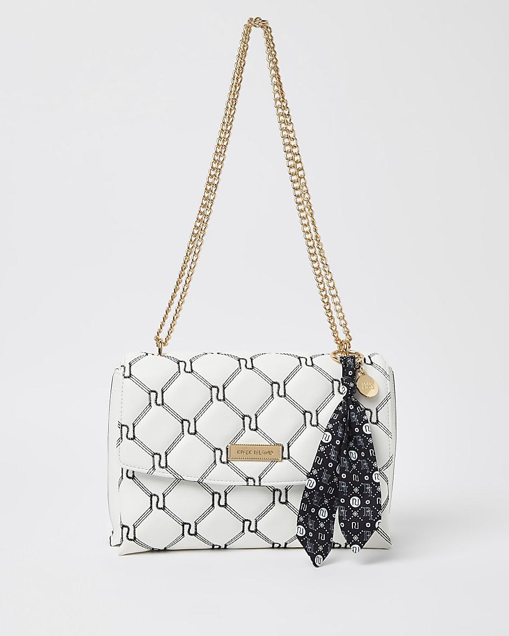 White monogram quilted shoulder bag