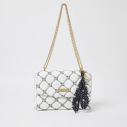 White monogram quilted shoulder bag