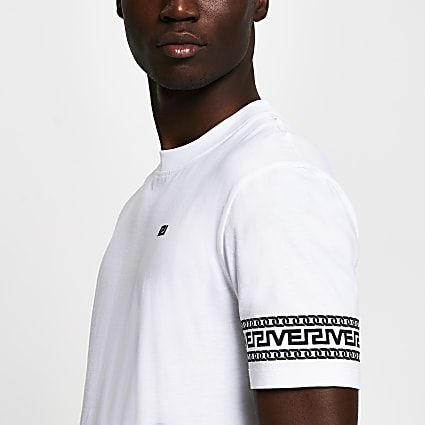 White monogram sleeve slim fit T-shirt