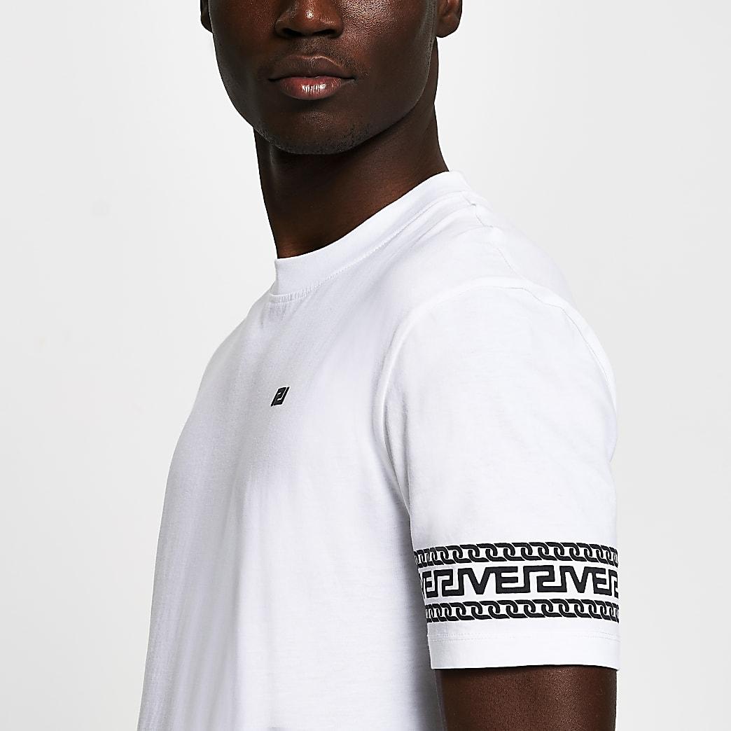 White monogram sleeve slim fit T-shirt