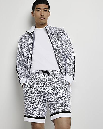 White monogram slim fit shorts