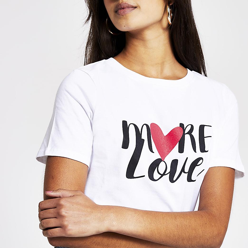 White 'More Love' print t-shirt