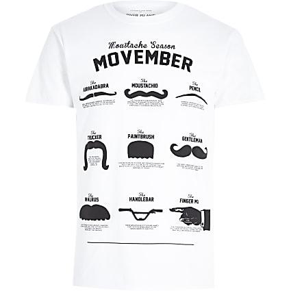 White moustache print crew neck t-shirt