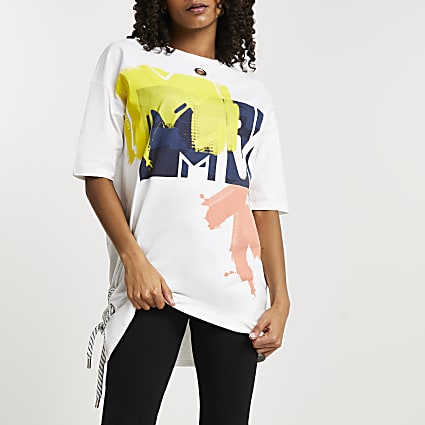 White MTV oversized short sleeve t-shirt