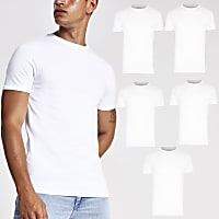 White muscle fit crew neck T-shirt 5 pack