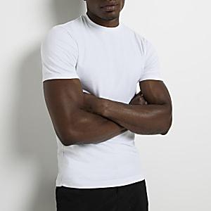 Weißes Muscle Fit T-Shirt mit Rundhalsausschnitt