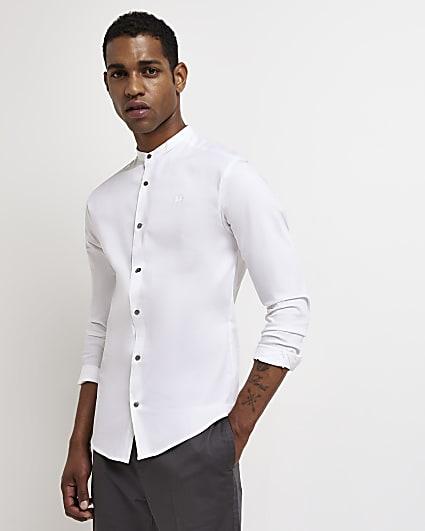 White muscle fit long sleeve grandad shirt