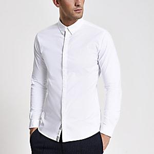 Wit aansluitend Oxford overhemd met lange mouwen
