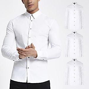Weißes, langärmeliges Hemd im Muscle Fit im 3er-Pack