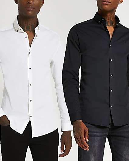 White muscle fit long sleeve shirts 2 pack
