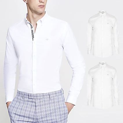 White muscle fit Oxford shirt 2 pack