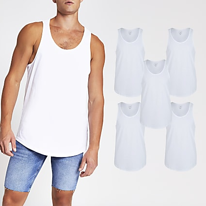 White muscle fit racer vest 5 Pack