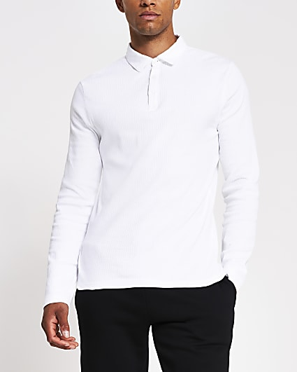 White muscle fit rib long sleeve polo shirt