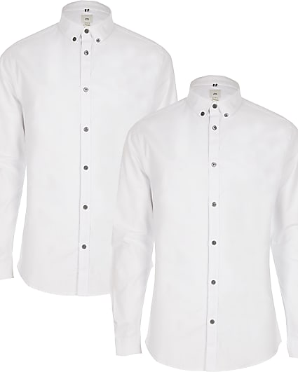 White muscle fit shirt 2 pack
