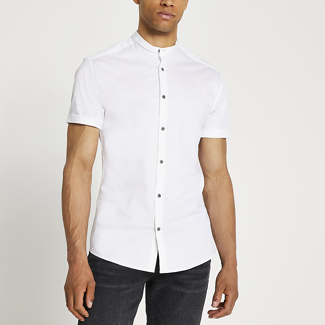 White muscle fit short sleeve grandad shirt