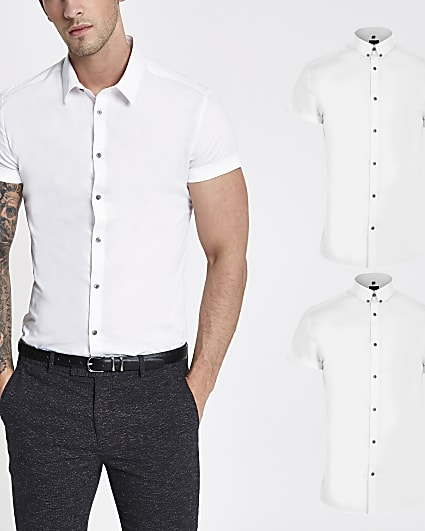 White muscle fit short sleeve shirt 2 pack