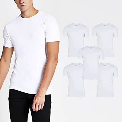 White muscle fit T-shirt 5 Pack