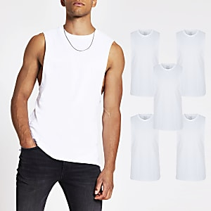 White muscle fit tank top 5 Pack