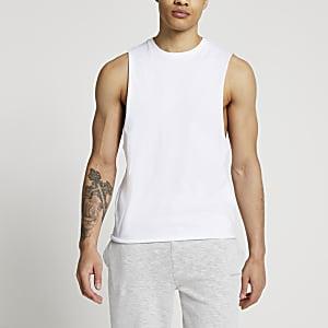 Weißes Muscle Fit Tanktop