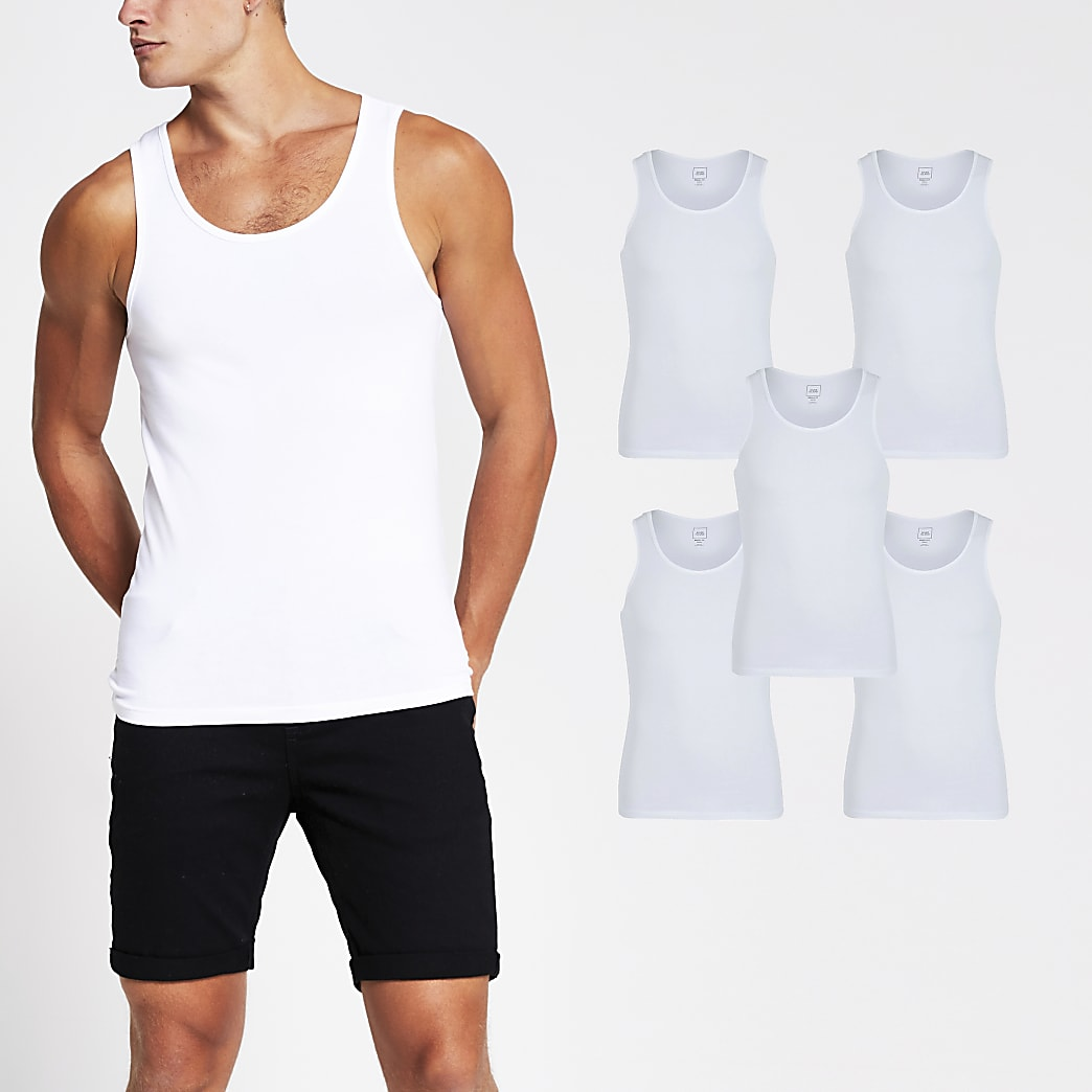 White muscle fit vest 5 Pack