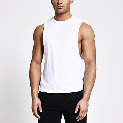 White muscle fit vest