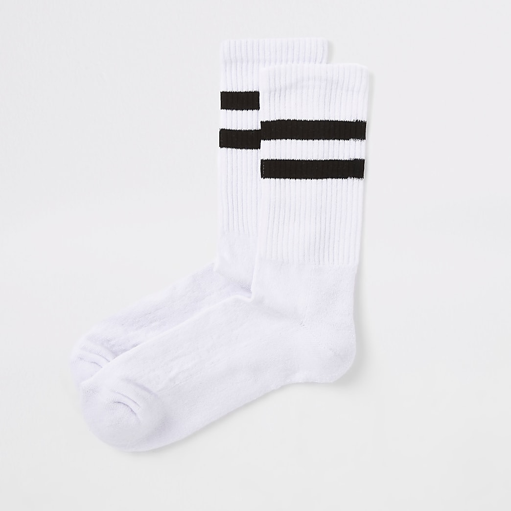 White navy stripe tube socks