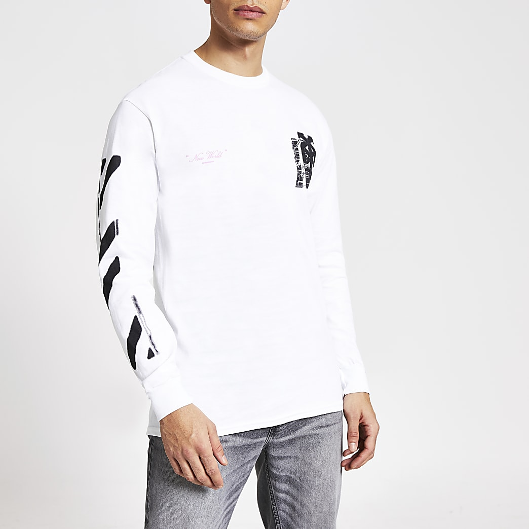 White 'New world' printed long sleeve T-shirt