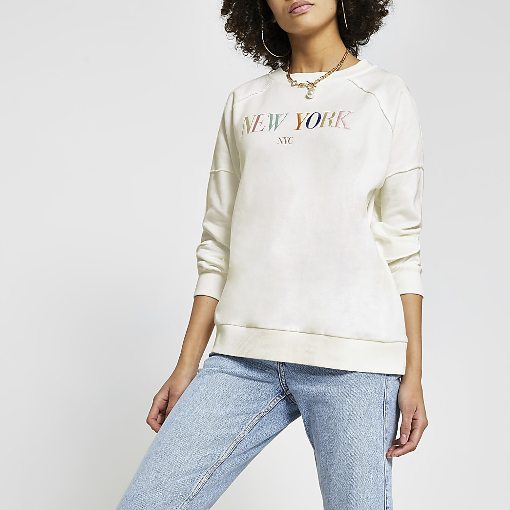 White New York embroidered sweatshirt