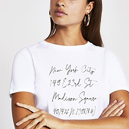 White New York script t-shirt