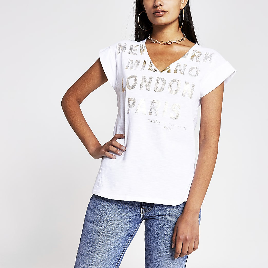 White 'New York' V neck t-shirt