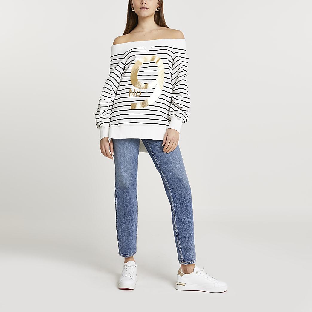 White 'No. 9' stripe bardot sweatshirt