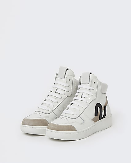 White NUSHU high top trainers