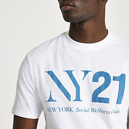 White NY21 slim fit t-shirt