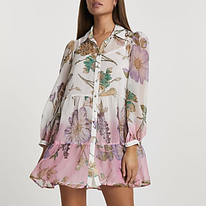 White ombre floral beach shirt dress