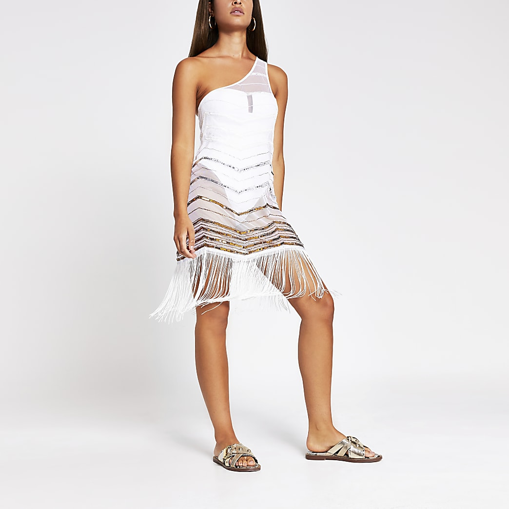 White One Shoulder Beach Cover Up