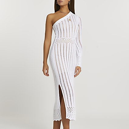 White one shoulder crochet dress