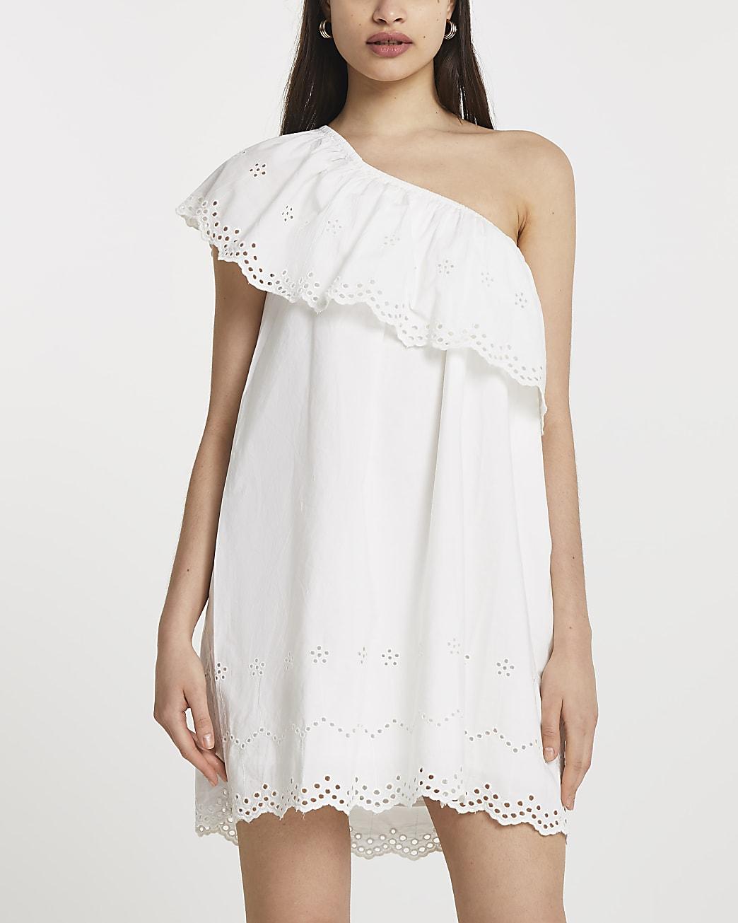 White one shoulder cut work mini dress