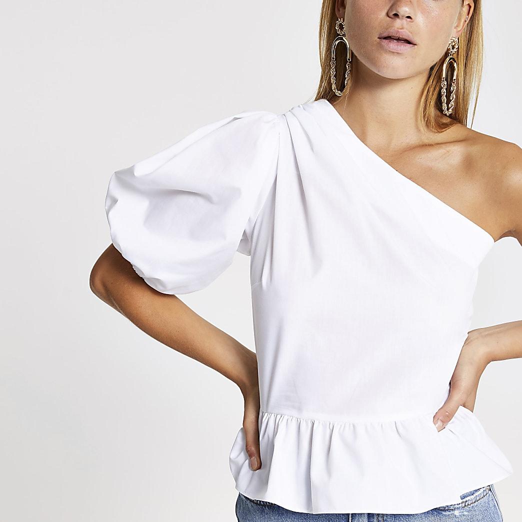White one shoulder peplum top