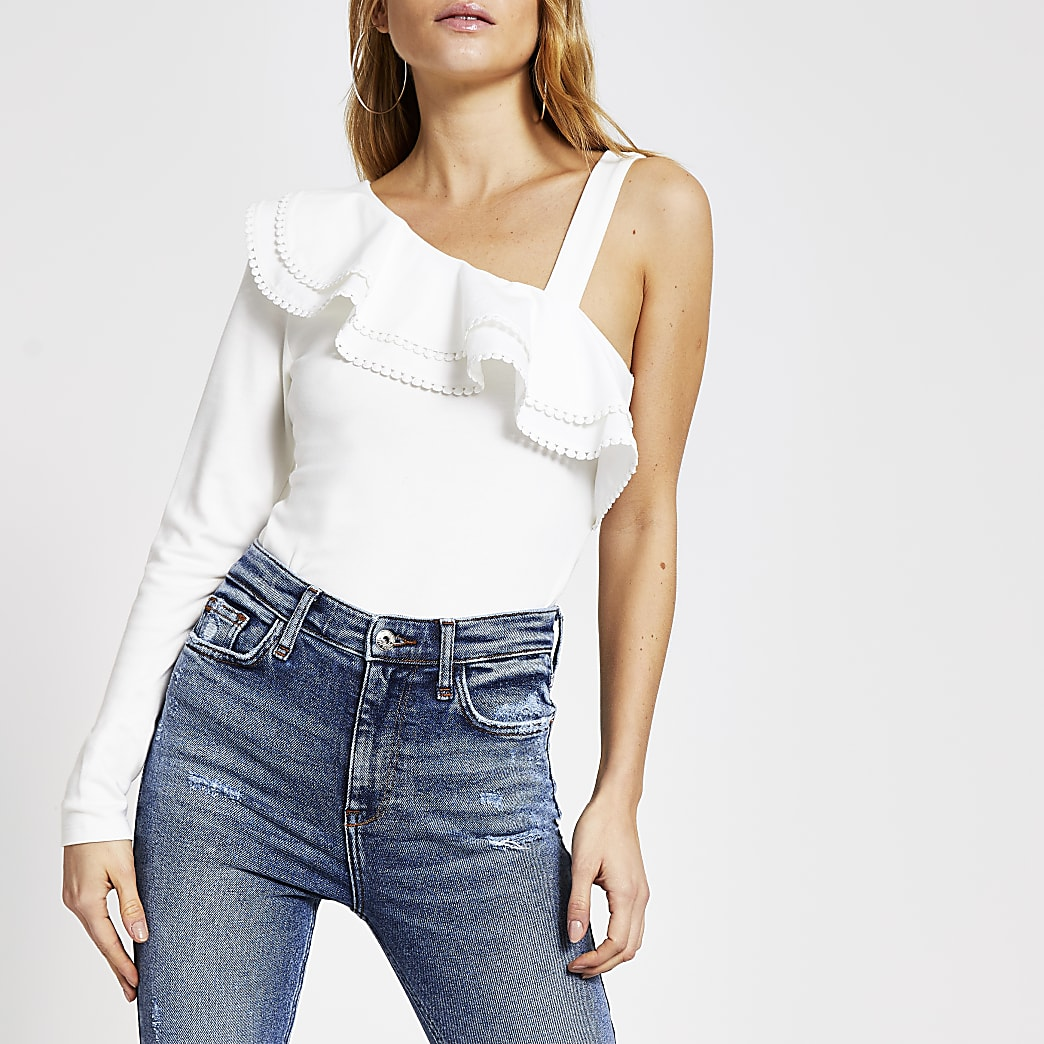 White one shoulder poplin frill top