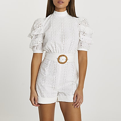 White open back broderie playsuit