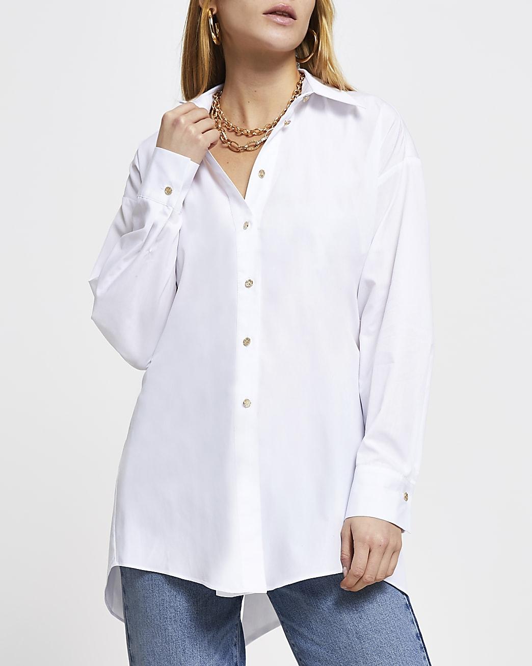 White open tie back long sleeve shirt
