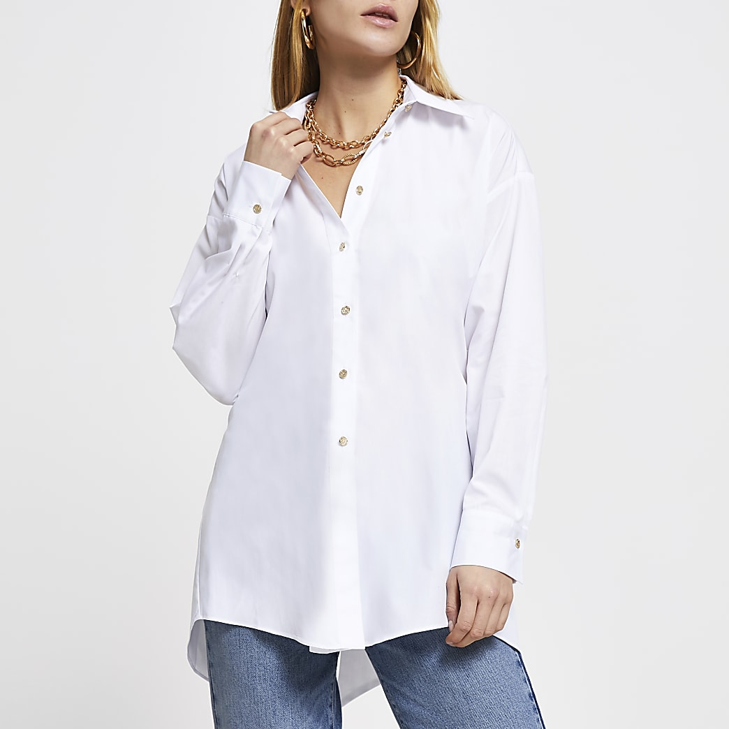 White open tie back long sleeve shirt