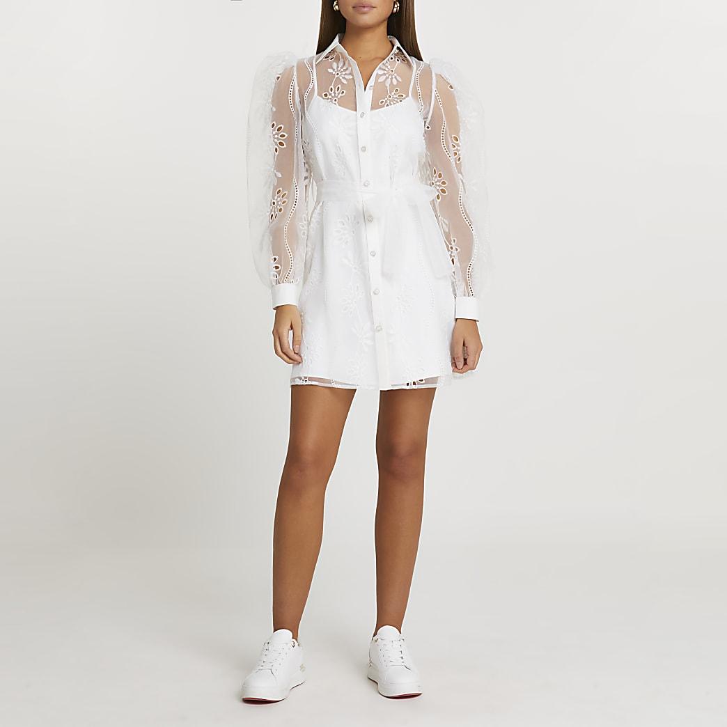 White organza embroidered shirt mini dress