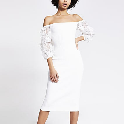 White organza floral embroidered midi dress