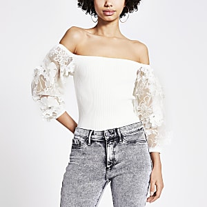 White organza floral embroidered sleeve top