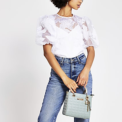 White organza floral puff sleeve top