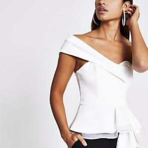White organza peplum one shoulder top