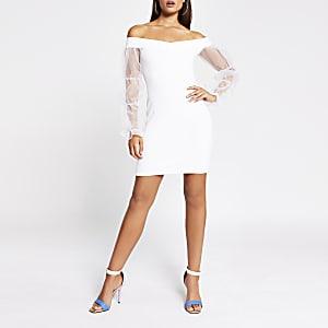 White organza puff sleeve bardot mini dress